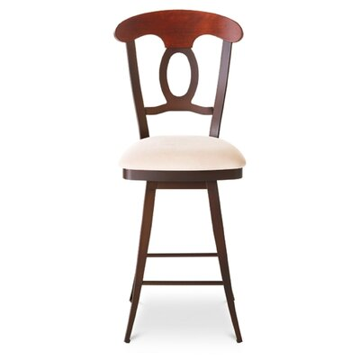 "Amisco Cynthia 30"" Swivel Barstool with Upholstered Seat and Backrest"