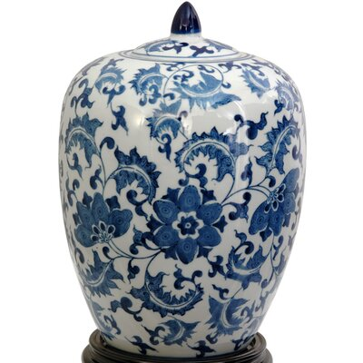 Vase Jar with Blue Floral Design in White