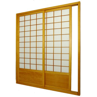Oriental Furniture Double Sided Sliding Door Room Divider in Honey