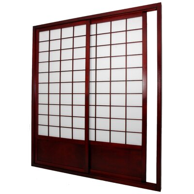Double Sided Sliding Door Room Divider in Rosewood