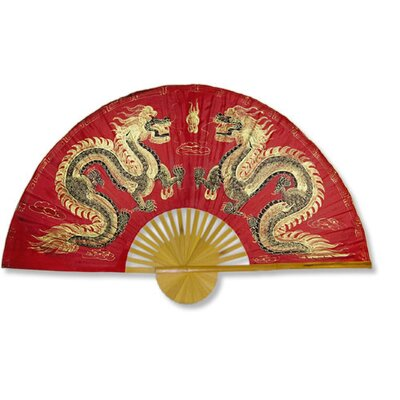 Fiery Dragons Wall Fan in Red