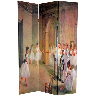 "Oriental Furniture 72"" x 48"" Double Sided Works of Degas 3 Panel Room Divider"