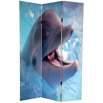"Oriental Furniture 72"" Double Sided Dolphin and Clownfish 3 Panel Room Divider"