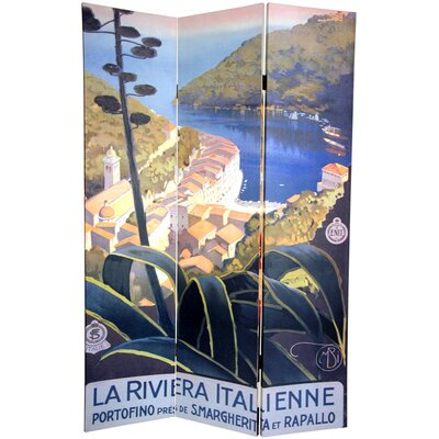 "Oriental Furniture 72"" x 48"" Double Sided Amalfi and Riviera 3 Panel Room Divider"