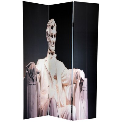 "Oriental Furniture 72"" x 48"" Double Sided Memorial 3 Panel Room Divider"
