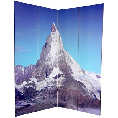 "Oriental Furniture 72"" Double Sided Matterhorn/Everest Canvas 4 Panel Room Divider"
