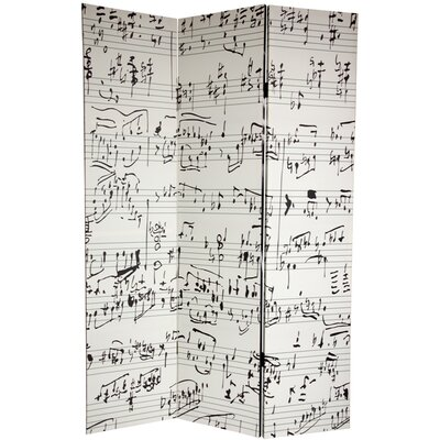 "Oriental Furniture 72"" x 64"" Double Sided Music 3 Panel Room Divider"