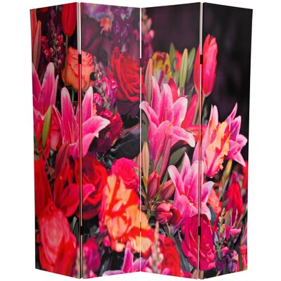 "Oriental Furniture 70.88"" x 63"" Spring Flowers 4 Panel Room Divider"