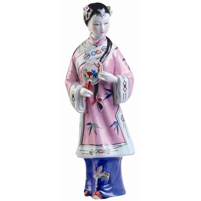 "Oriental Furniture 14"" Porcelain Standing Maiden Statue"