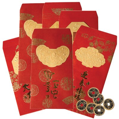 Oriental Furniture Lucky Envelopes with Coins (Set of 6)