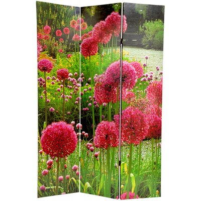 "Oriental Furniture 71"" x 47.63"" Birds and Flowers 3 Panel Room Divider"