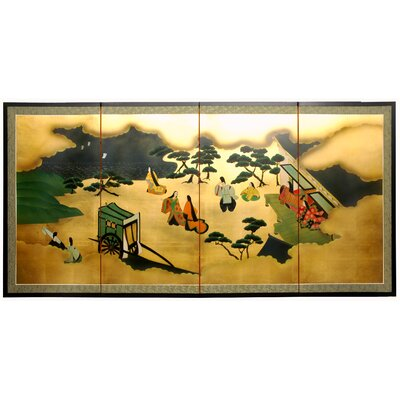 "Oriental Furniture 36"" From Heaven Above on Gold Leaf Silk Screen with Bracket"