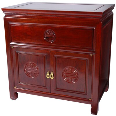 Oriental Furniture Bedside Cabinet in Cherry