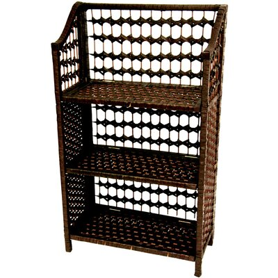 "Oriental Furniture 33"" Natural Fiber Shelving Unit in Mocha"