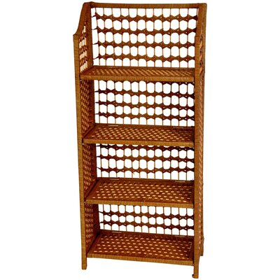 "Oriental Furniture 43"" Natural Fiber Shelving Unit in Honey"