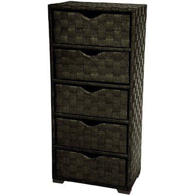 Natural Fiber Chest of 5 Drawer