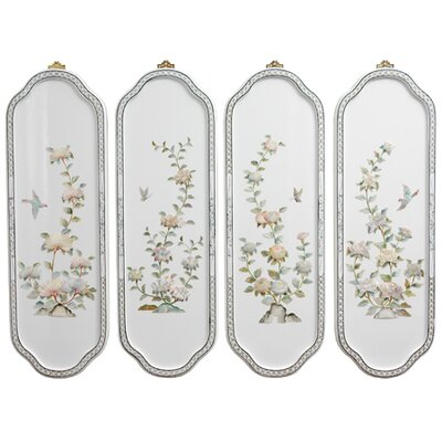 Oriental Furniture Birds and Flowers 4 Piece Curved Wall Décor Set