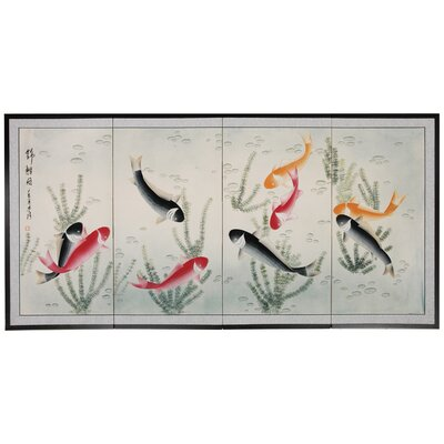 Oriental Furniture Nine Li Fish 4 Panel Room Divider