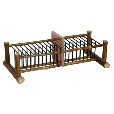 Japanese Bamboo Horizontal Multimedia Tabletop Storage Rack