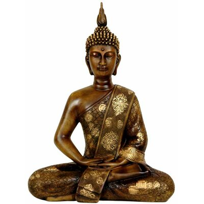 "Oriental Furniture 11"" Thai Sitting Buddha Statue in Faux Wood Grain"