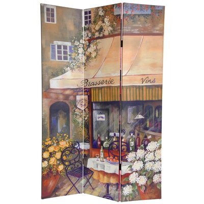 6Feet Tall Double Sided Brasserie Canvas Room Divider