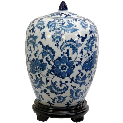 Oriental Furniture Vase Jar with Blue Floral Design in White