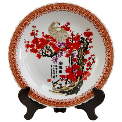 Cherry Blossom Decorative Large Plate in White