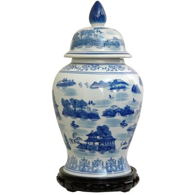 Oriental Furniture Temple Jar with Blue Landscape Design in White