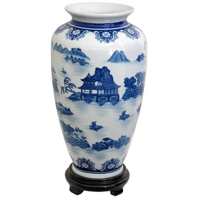 Tung Chi Vase with Blue Landscape Design in White