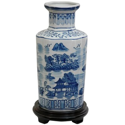 "Oriental Furniture 12"" Vase with Blue Landscape Design in White"