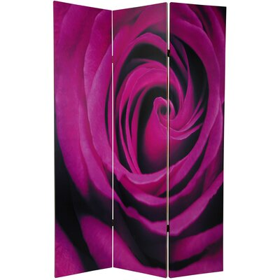 "Oriental Furniture 70.88"" x 47"" Double Sided Roses 3 Panel Room Divider"