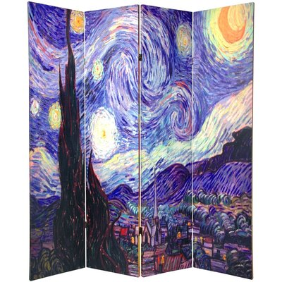 "Oriental Furniture 70.88"" x 63"" Double Sided Works of Van Gogh Canvas 4 Panel Room Divider"