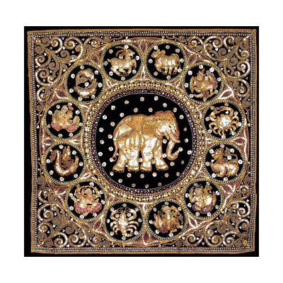 Oriental Furniture Burmese Elephant Horoscope Tapestry Wall Hanging