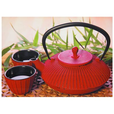 "Oriental Furniture Red Teapot Canvas Wall Art - 19.75"" x 27.5"""