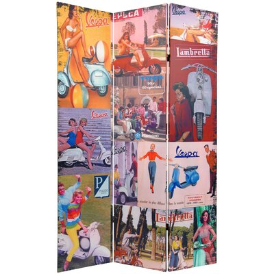 Oriental Furniture Double Sided Vespa 3 Panel Room Divider