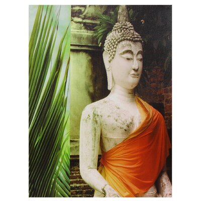 "Oriental Furniture Orange Draped Buddha Canvas Wall Art - 31.5"" x 23.5"""
