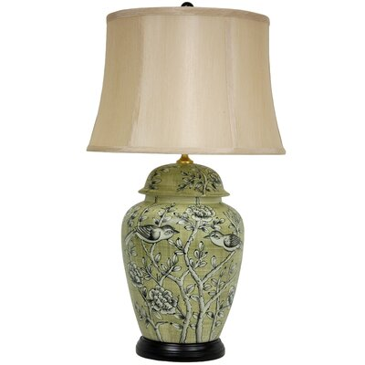 Oriental Furniture Birds and Flowers Lamp in Jade Green