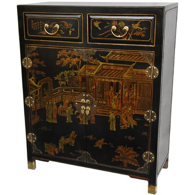 Oriental Furniture 2 Drawer Chest in Black Lacquer