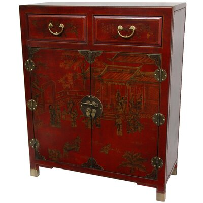 Oriental Furniture Lacquer 2 Drawer Chest