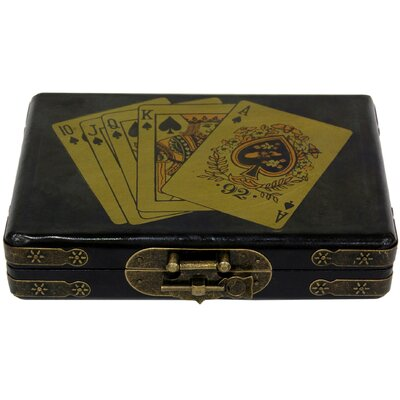 Oriental Furniture 3 Piece Cards Box Set in Black Lacquer
