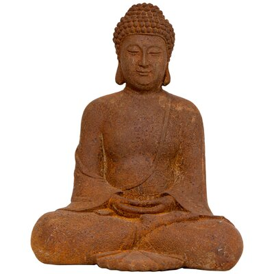"Oriental Furniture 12"" Japanese Sitting Zenjo Buddha Statue in Faux Antique Oxidized Patina"
