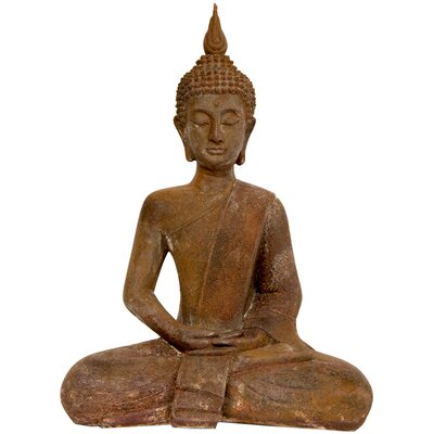 "Oriental Furniture 17"" Thai Sitting Zenjo Buddha Statue in Faux Rust Oxidized Iron Patina"