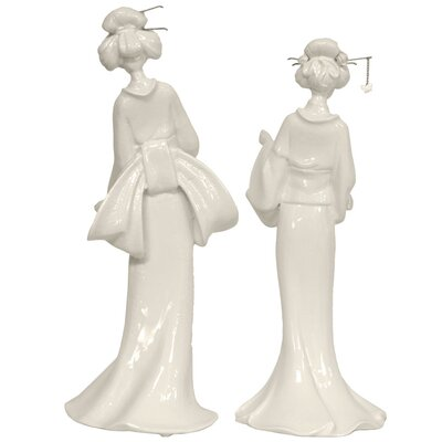 "Oriental Furniture 13"" Standing Geisha Statue in White (Set of 2)"