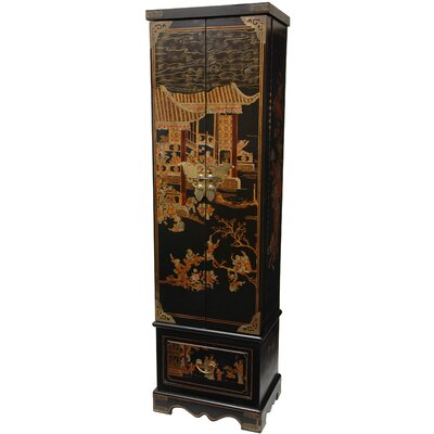 Tall Floor Jewelry Armoire in Black Lacquer