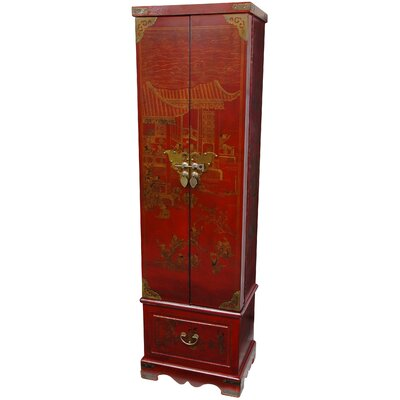 Tall Floor Jewelry Armoire in Antique Red Lacquer