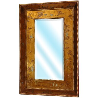 Wide Wall Mirror in Antique Gold Leaf Lacquer
