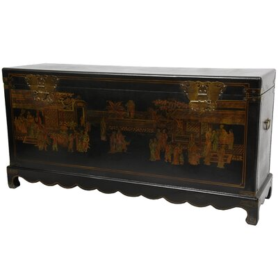Oriental Furniture Daily Life Blanket Trunk in Black Lacquer
