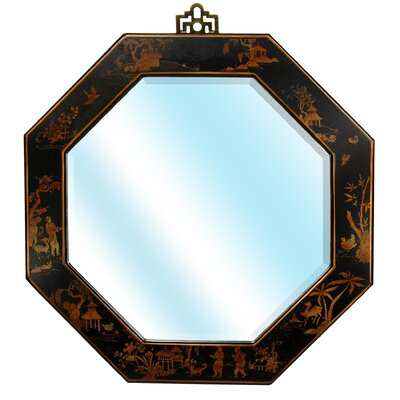 Oriental Furniture Octagonal Wall Mirror in Black Lacquer