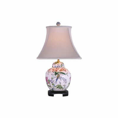 Oriental Furniture Porcelain Lily Melon Jar Table Lamp