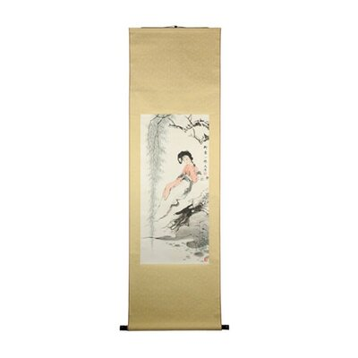 Oriental Furniture Reclining Beauty Oriental Watercolor Painting
